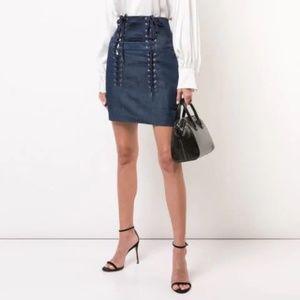 NWT Fleur Du Mal Lace Up Skirt Blue Size 4